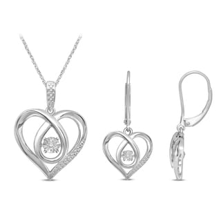 Unending Love Sterling Silver Glittering Stars Pendant and Earring Set