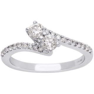 1/2ct Two Diamond Plus Pave Ring In 14K White Gold (I-J, I1-I2)