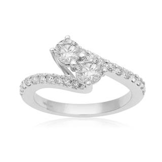 1ct Two Diamond Plus Pave Ring In 14K White Gold (I-J, I1-I2)