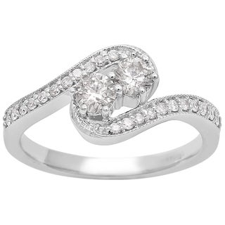 1 2ct Two Diamond Plus Milgrain Prong Pave Ring In 14K White Gold White I J