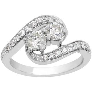1ct Two Diamond Plus Milgrain Prong Pave Ring In 14K White Gold (I-J, I1-I2)