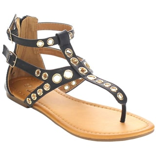Beston FA71 Women's Grommet-studded T-strap Thong Back Zip Flat Sandals
