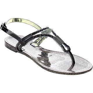 Beston FA73 Women's Shiny T-strap Thong Slingback Buckled Flat Sandals