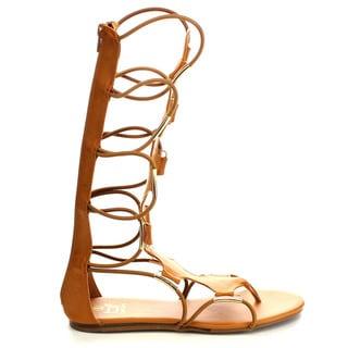 BETANI FA77 Women's Comfort Thong Design Midcalf Open Toe Gladiator Back Zip Sandals