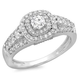 14k White Gold 1ct TDW Diamond Vintage Halo Bridal Engagement Ring (H-I, I1-I2)