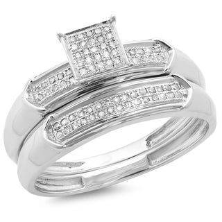 Elora Sterling Silver 1/4ct TDW Diamond Bridal Engagement Ring With Matching Wedding Band Set (I-J, I2-I3)