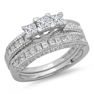 Elora 14k White Gold 1 5/8ct TDW Diamond Bridal 3-Stone Engagement Ring With Matching Band Set (H-I, I1-I2