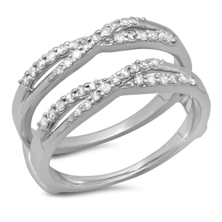 14k White Gold 3/8ct TDW Diamond Double Ring Swirl Anniversary Wedding Band Enhancer Guard (H-I, I1-I2)