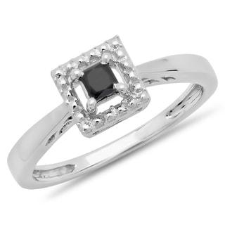 Elora 10k White Gold 1/3ct TDW Black Diamond Solitaire Bridal Promise Engagement Ring