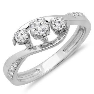 Elora 10k White Gold 3/8ct TDW Diamond Bridal Swirl Style 3 Stone Engagement Ring (H-I, I1-I2)