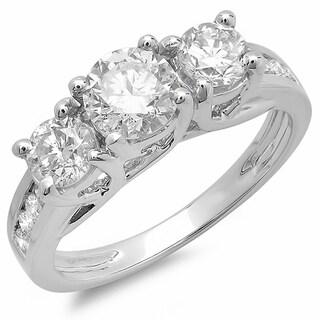 Elora 14k White Gold 2ct TDW Diamond Bridal 3 Stone Engagement Ring (H-I, I1-I2)