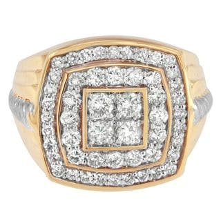 14k Yellow Gold 2ct TDW Round Diamond Pentagon Men's Ring (H-I, I1-I2)