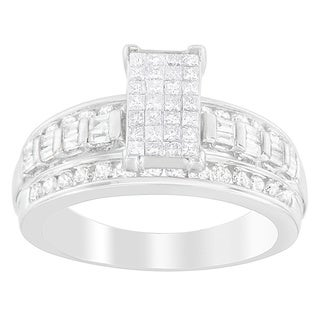 14k White Gold 1ct TDW Round, Princess and Baguette Diamond Ring (H-I, SI1-S12)