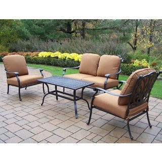 Sunbrella Aluminum 4-piece Chat Set with High Quality Cushions 2 Stackable Club Chairs Loveseat and Cocktail Table
