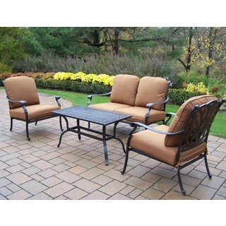 Cast Aluminum 4-piece Sunbrella Cushioned Chat Set, with 2 Stackable Club Chairs, Loveseat, and Cocktail Table