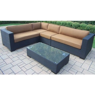 Sunbrella 5-piece Woven All-weather Resin Wicker Sectional Set with Aluminum Frames and Mildew Resistant Sunbrella Cushions