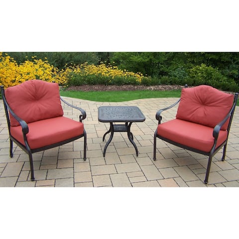 Verona Cast Aluminum Deep Seating Chat Set with 2 Double Cushioned Club Chairs and Side Table