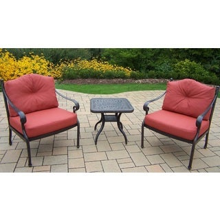 Cushioned Premium Aluminum Deep Seating 3-piece . Chat Set with 2 Double Cushioned Club Chairs and a 24-inch Side Table