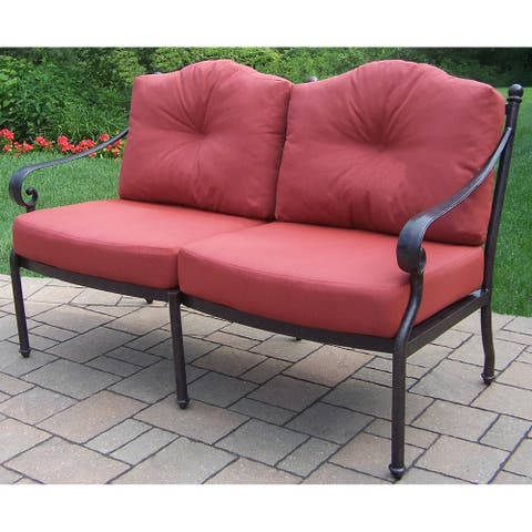 Verona Cushioned Cast Aluminum Deep Seating Loveseat, with Durable Polyester Cushions