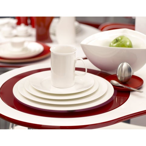 Pure Vanilla 11.75-inch Rimmed Oversized Dinner Plate (Set of 2)