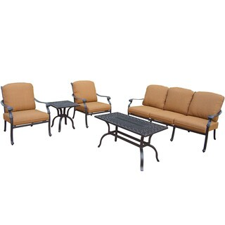 Sunbrella Aluminum Deep Sitting 5-piece Chat Set with 1 Sofa 2 Club Chairs with Cushions Side Table and Coffee Table