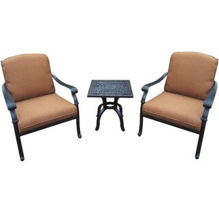 Sunbrella Aluminum Deep Sitting 3-piece Chat Set with 2 Durable Cushioned Club Chairs and 21-inch Side Table