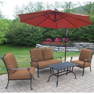 Sunbrella Aluminum 5-piece Chat Set with Cushioned 2 Stackable Chairs Loveseat Cocktail Table and Cantilever Umbrella