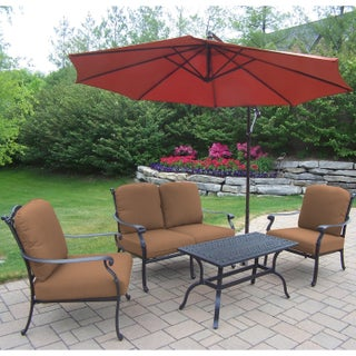 Sunbrella Aluminum 5-piece Chat Set with Cushioned 2 Stackable Chairs Loveseat Cocktail Table and Cantilever Umbrella (2 options available)