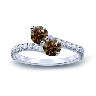 Auriya 14k Gold 2ct TDW Round Cut Brown Diamond 3-prong, 2-stone Engagement Ring (Brown, I1-I2)