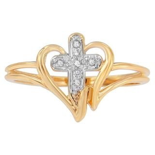 10k Yellow Gold Cross Diamond Accent Ring