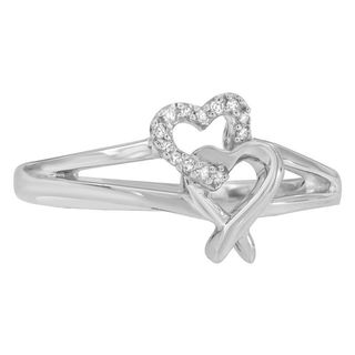 Sterling Silver Round Diamond Accent Heart Ring (H-I, I1-I2)