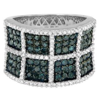14k White Gold 1 1/2ct TDW Pave Blue Diamond Ring