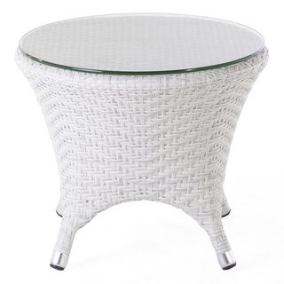 Hans Andersen Home Danica Outdoor End Table W/ Clear Glass Top