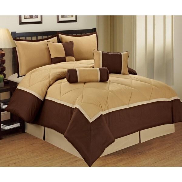 Michael 7-piece Beige and Brown Queen Size Comforter Set