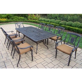 Sunbrella Aluminum 9-piece Dining Set with Table 8 Stackable Chairs with Mildew Resistant Sunbrella Fabric Cushions