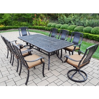 Sunbrella Aluminum 9-piece Dining Set Includes Table 6 Stackable Chairs 2 Swivel Rockers with Sunbrella Cushions