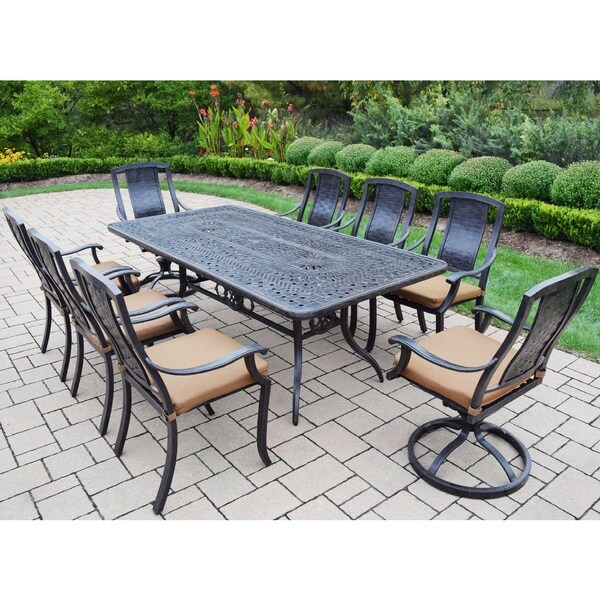 Sunbrella Aluminum 9 piece Dining Set Includes Table 6  : Sunbrella Aluminum 9 piece Dining Set Includes Table 6 Stackable Chairs 2 Swivel Rockers with Sunbrella Cushions c28f3c70 1cad 4e70 9fbb e768de6af1ed600 from www.overstock.com size 600 x 600 jpeg 119kB