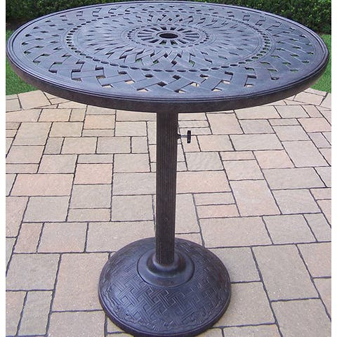 Bar Table with Cast Aluminum Top and Built-in Umbrella Stand.