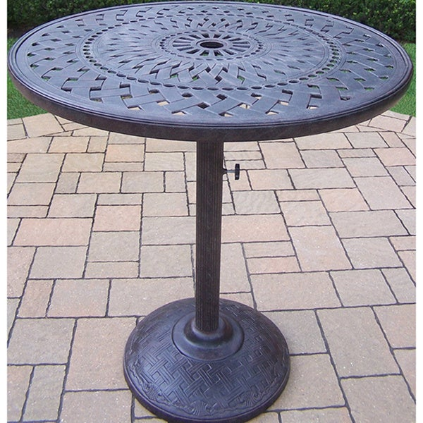 High Quality Bar Table With Cast Aluminum Top And Built In Umbrella Stand.