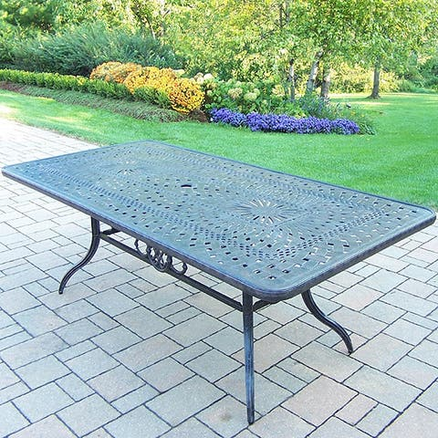 Rust-resistant Rectangular Dining Table with Umbrella Hole