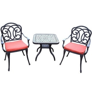 Premium Aluminum 3-piece Cafe Set with 2 Cushioned Chairs and a 24-inch Side Table