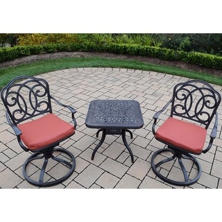 Premium Aluminum Swivel Rocker 3-piece Set with 2 Cushioned Swivel Rockers and a 24-inch Side Table