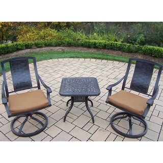 Sunbrella Aluminum 3-piece Set Includes 2 Swivel Rockers with Sunbrella Fabric Cushions and a 24-inch Side Table