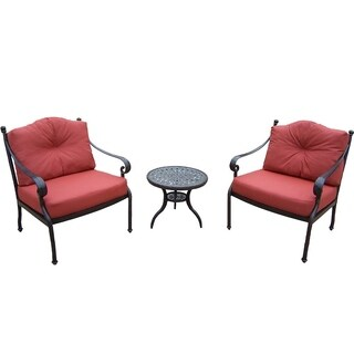 Verona Cast Aluminum 3-piece Chat Set, with 2 Deep Seat Chairs, Cushions, and Side Table