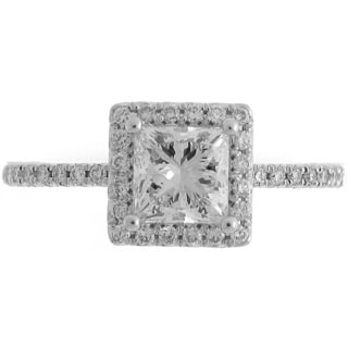 Azaro 14k White Gold 1 1/4ct TDW Diamond Princess Halo Engagement Ring