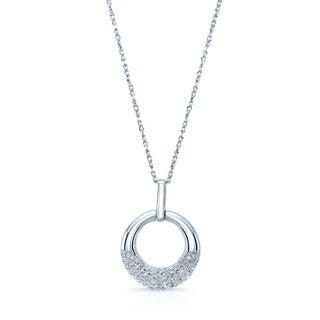 14K White Gold 1/6ct TDW Diamond Circle Pendant (H-I, VS1-VS2)