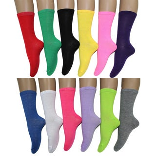 Frenchic Women's Fun and Colorful Crew Socks (Pack of 12 Pairs)