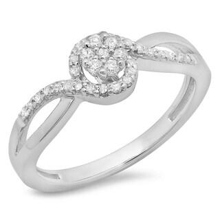Elora 10k White Gold 1/3ct TDW Diamond Twisted Swirl Split Shank Cluster Bridal Ring