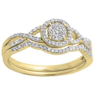 10k White Gold 1/4ct TDW Diamond Twisted Split Engagement Ring Set (H-I, I1-I2)