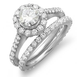 14k White Gold 1 3/4ct TDW Diamond Halo Bridal Set (J-K ,I1-I2)